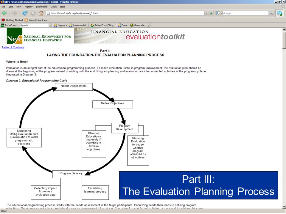 The Evaluation Planning Process