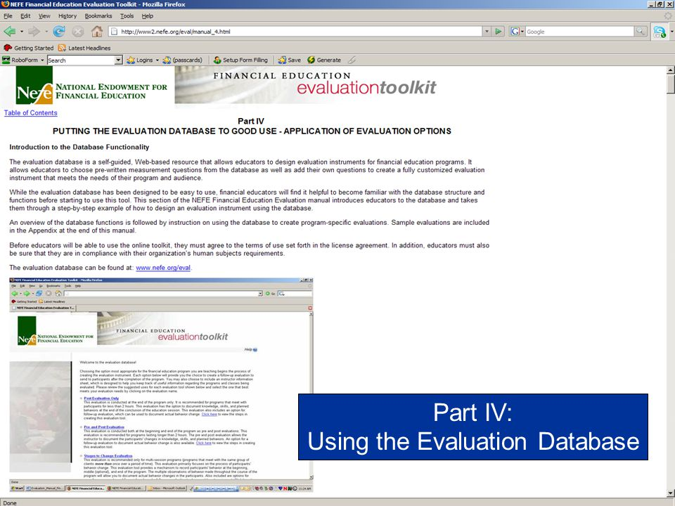 Using the Evaluation Database