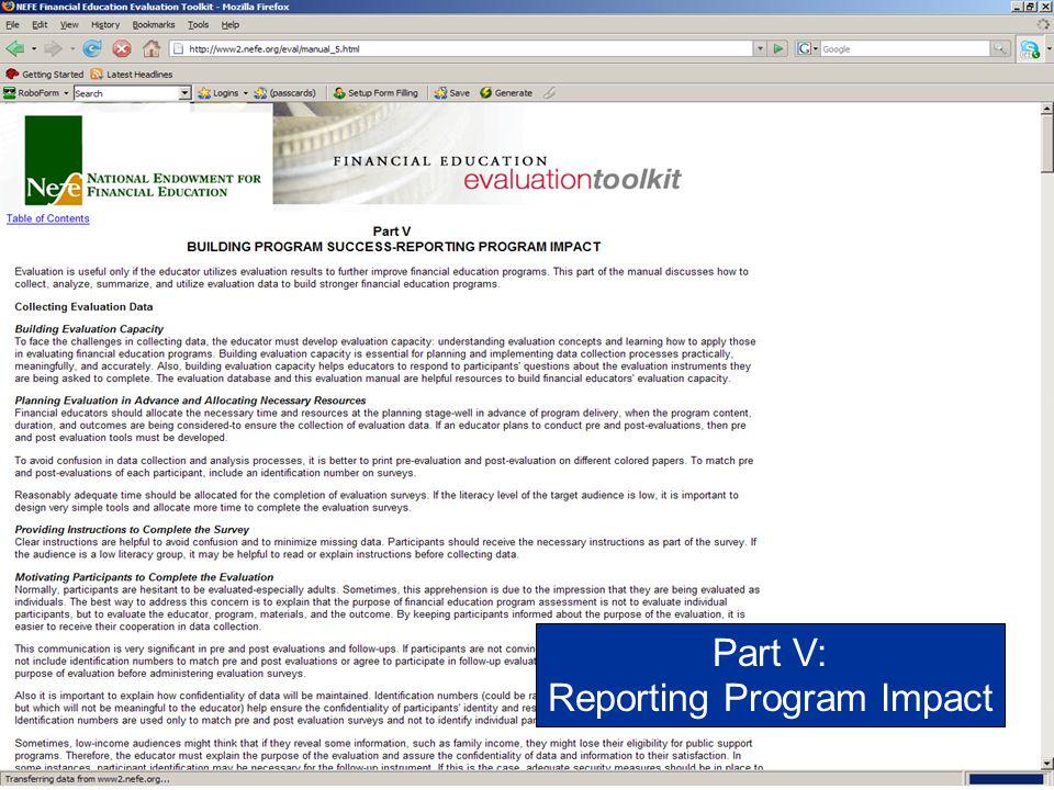 Reporting Program Impact