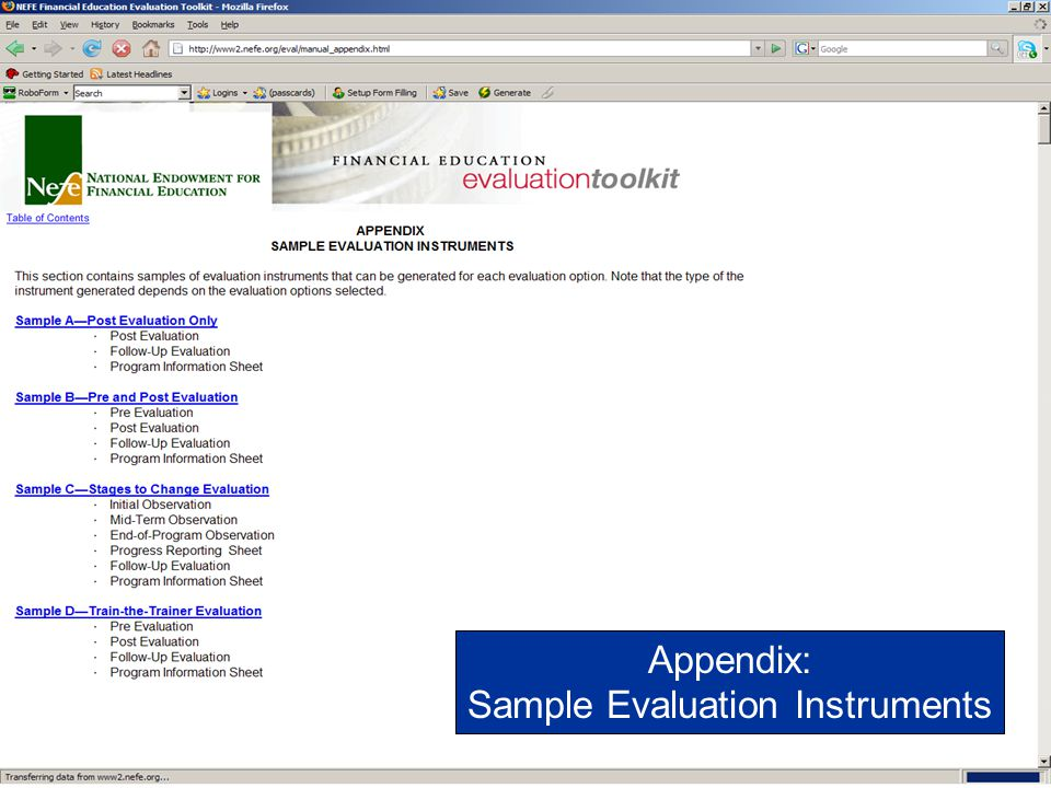 Sample Evaluation Instruments