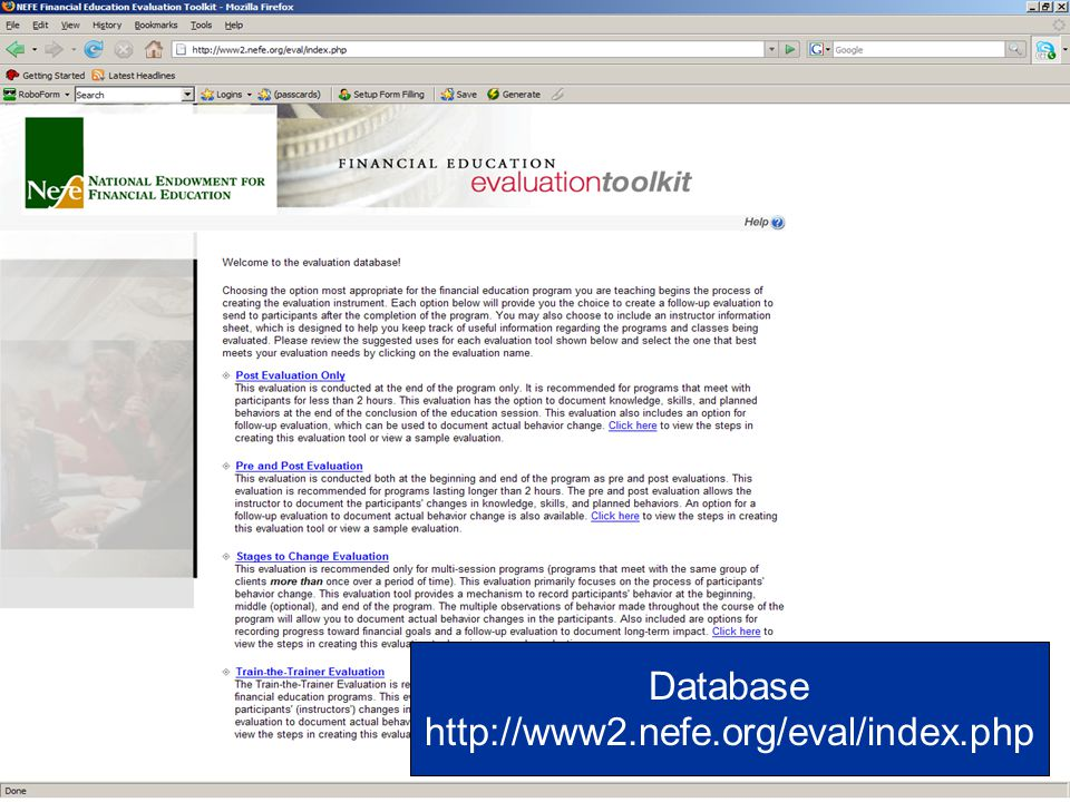 Database http://www2.nefe.org/eval/index.php