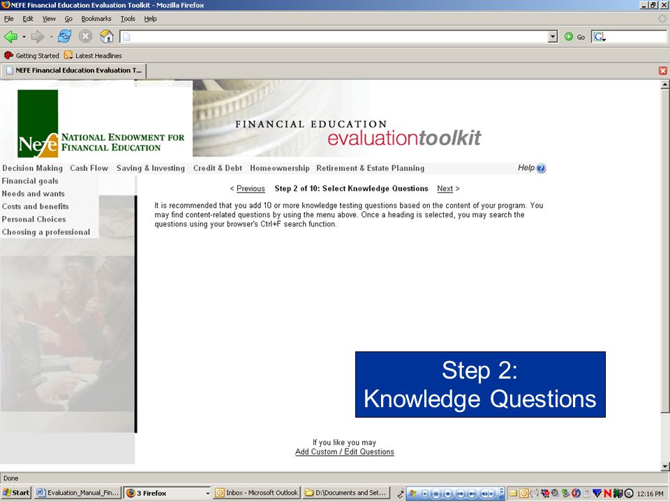 Step 2: Knowledge Questions