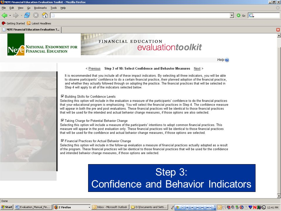 Confidence and Behavior Indicators