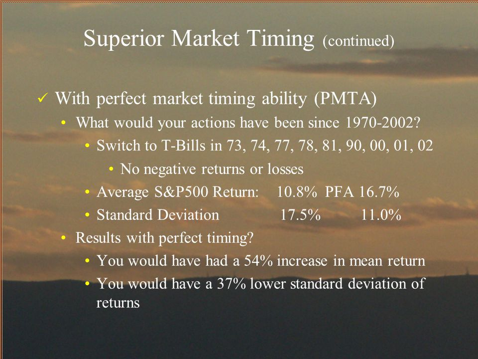 Superior Market Timing (continued)
