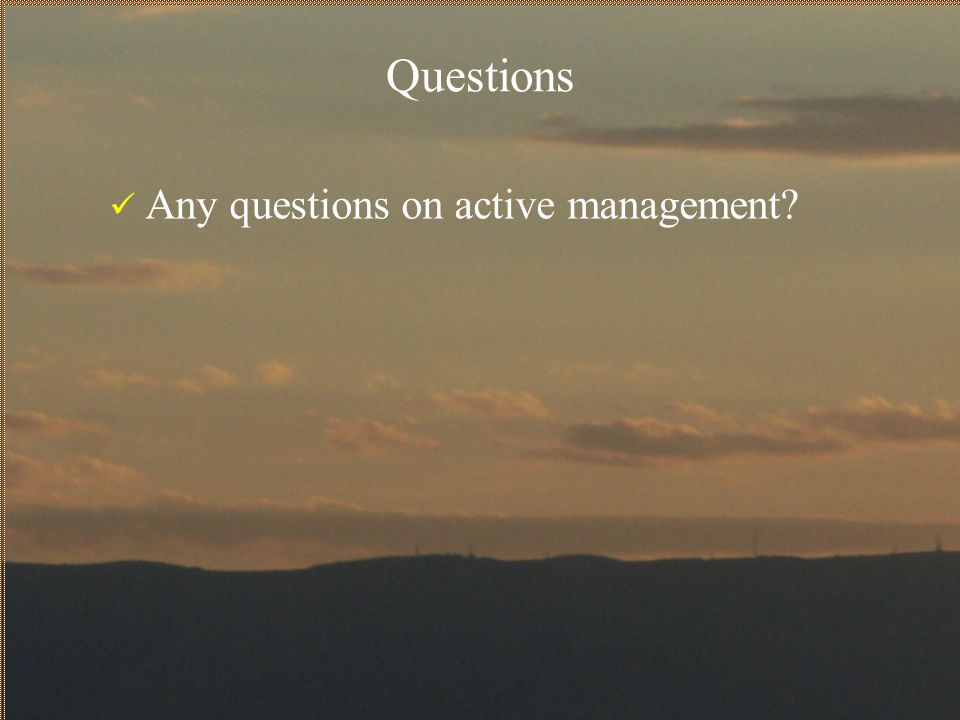 Questions Any questions on active management
