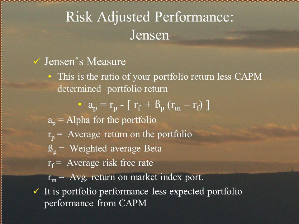 Risk Adjusted Performance: Jensen