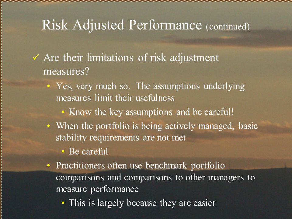 Risk Adjusted Performance (continued)