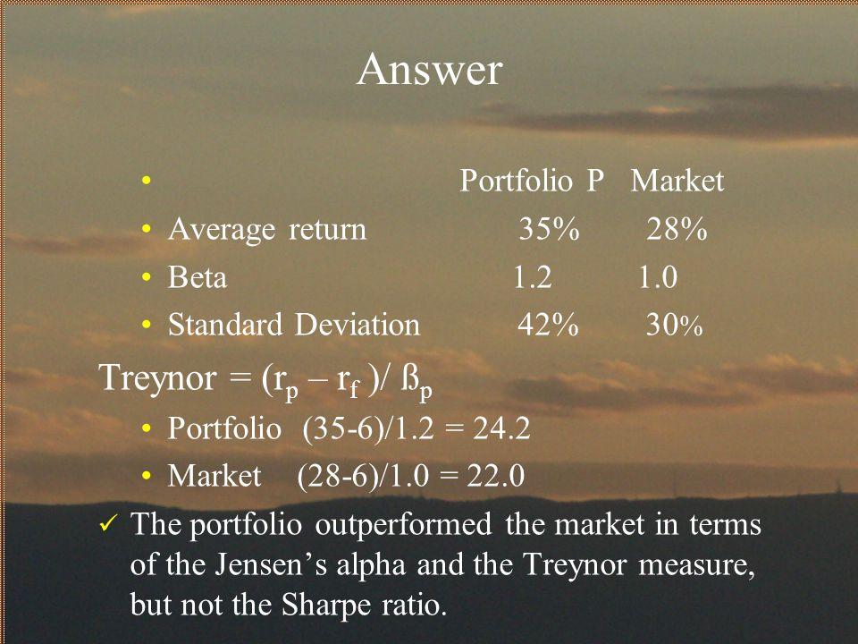 Answer Treynor = (rp – rf )/ ßp Portfolio P Market