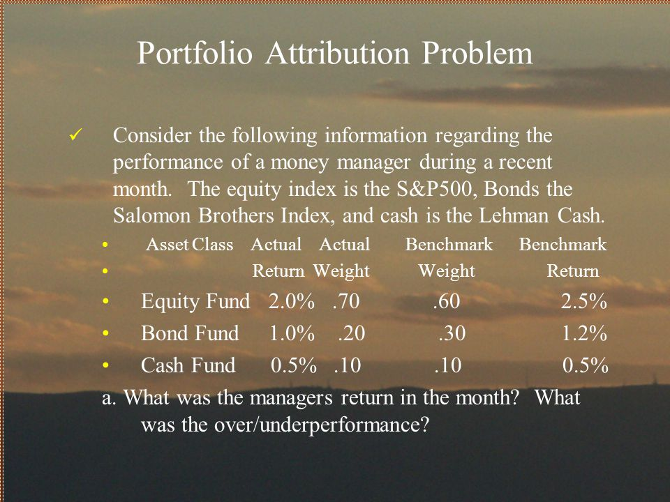 Portfolio Attribution Problem