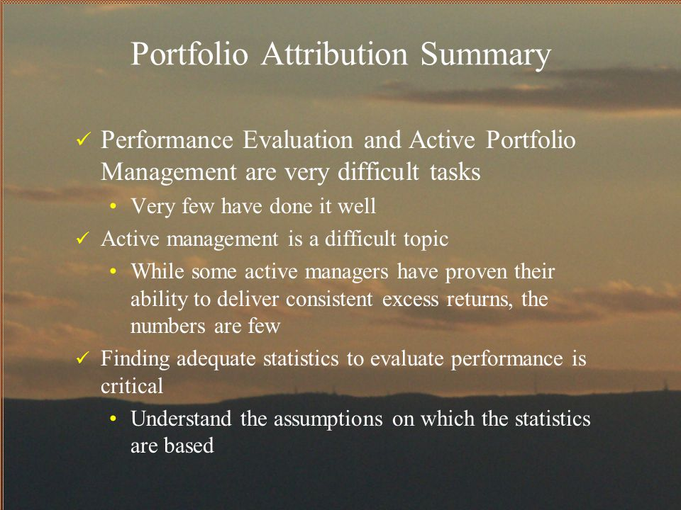 Portfolio Attribution Summary