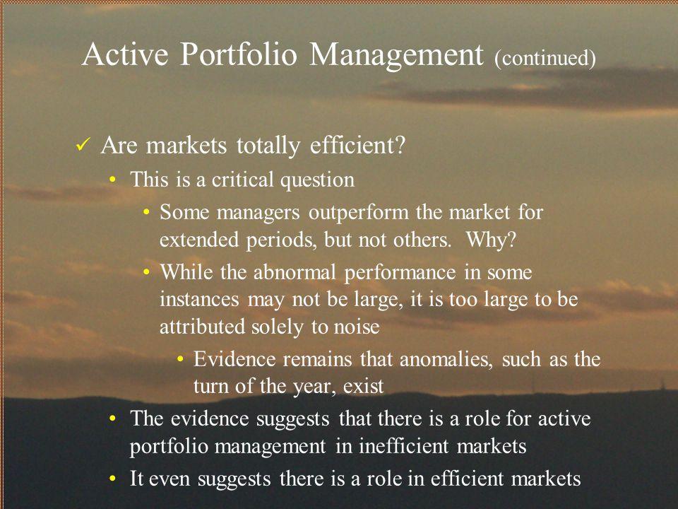 Active Portfolio Management (continued)