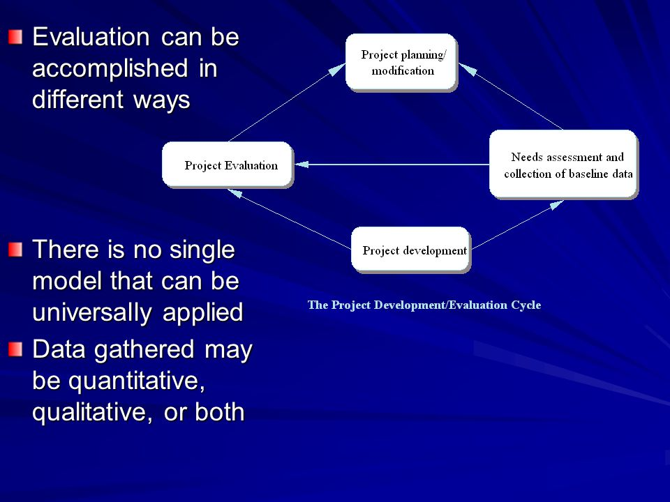 Evaluation can be accomplished in different ways