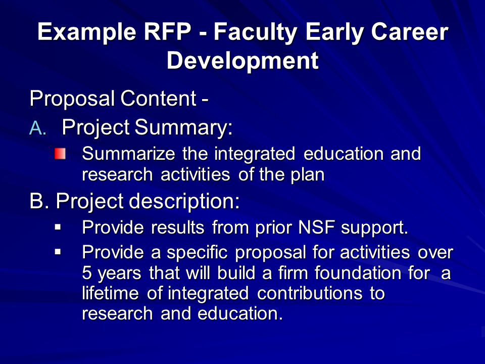 Example RFP - Faculty Early Career Development