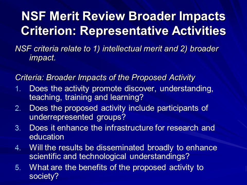 NSF Merit Review Broader Impacts Criterion: Representative Activities