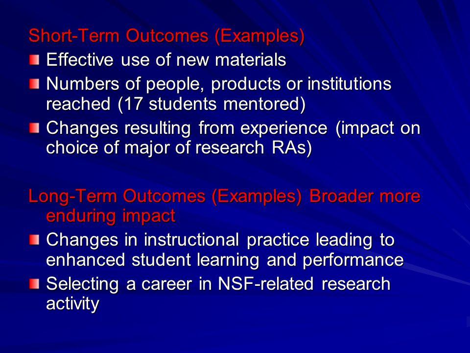 Short-Term Outcomes (Examples)