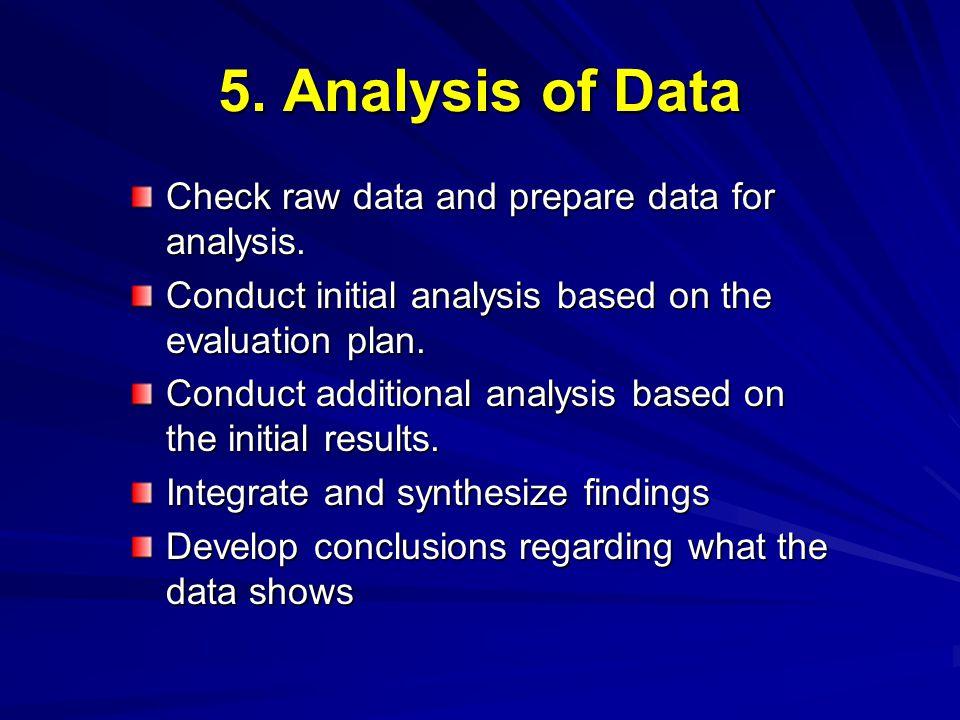5. Analysis of Data Check raw data and prepare data for analysis.