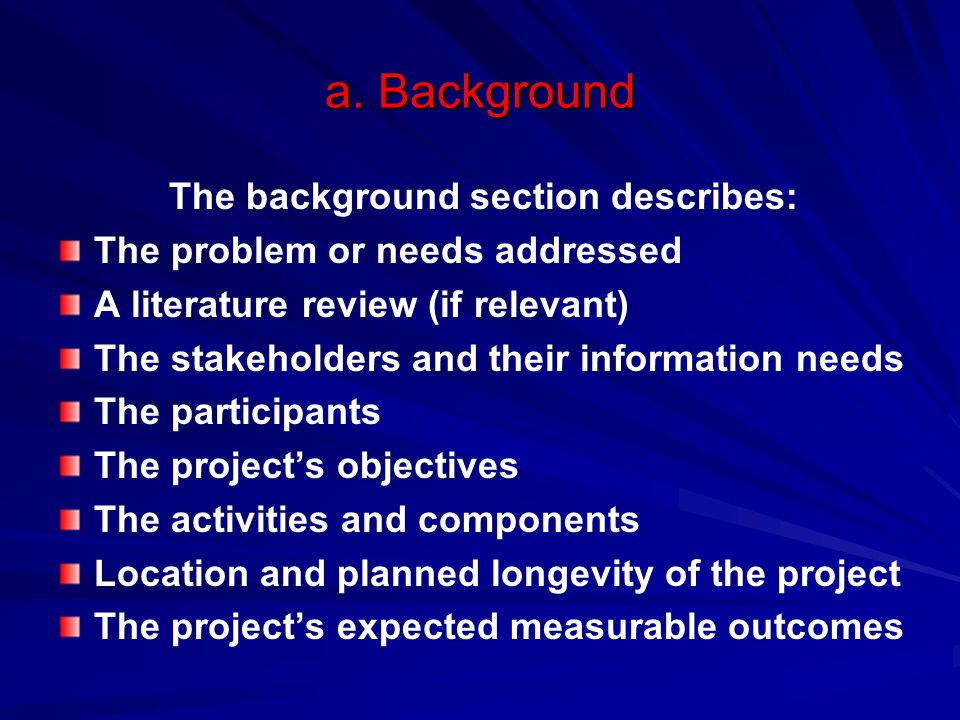 The background section describes: