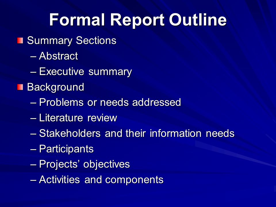 Formal Report Outline Summary Sections Abstract Executive summary