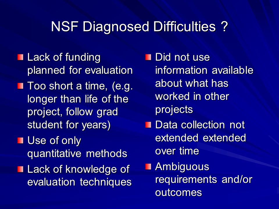 NSF Diagnosed Difficulties
