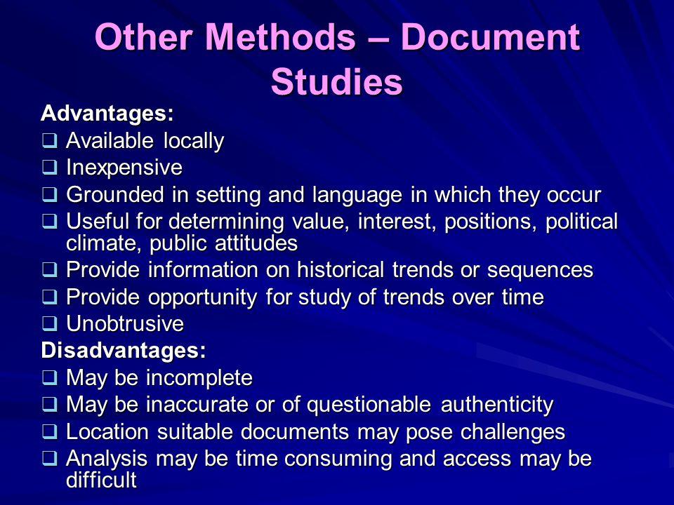 Other Methods – Document Studies