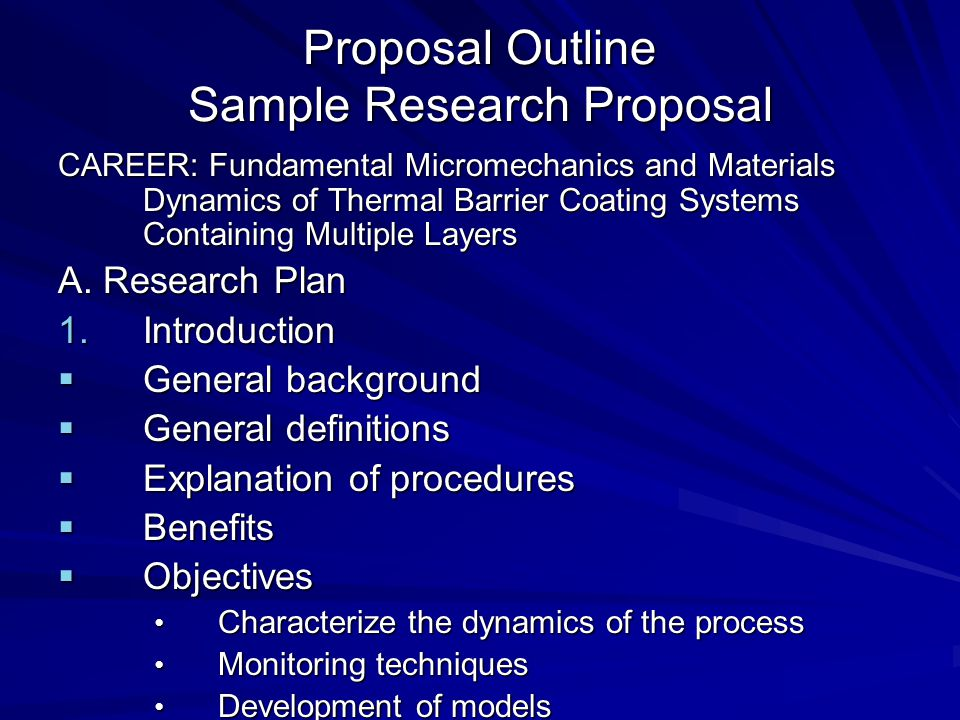 Proposal Outline Sample Research Proposal