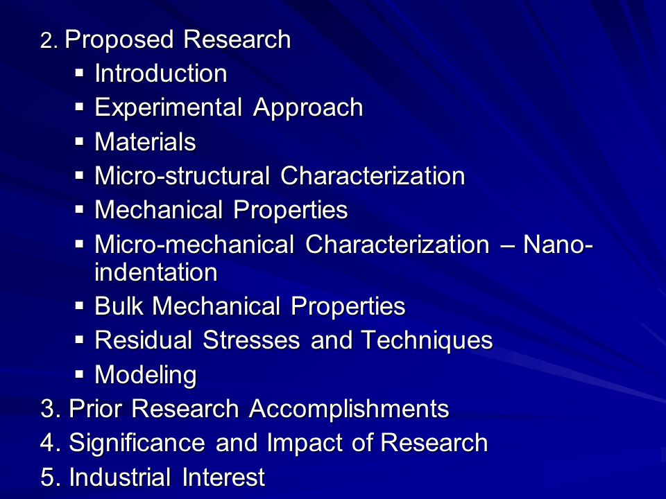 Experimental Approach Materials Micro-structural Characterization