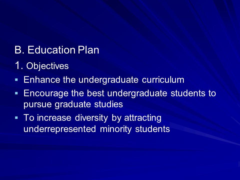 B. Education Plan 1. Objectives Enhance the undergraduate curriculum