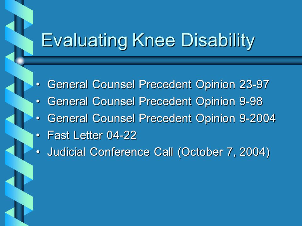 Evaluating Knee Disability
