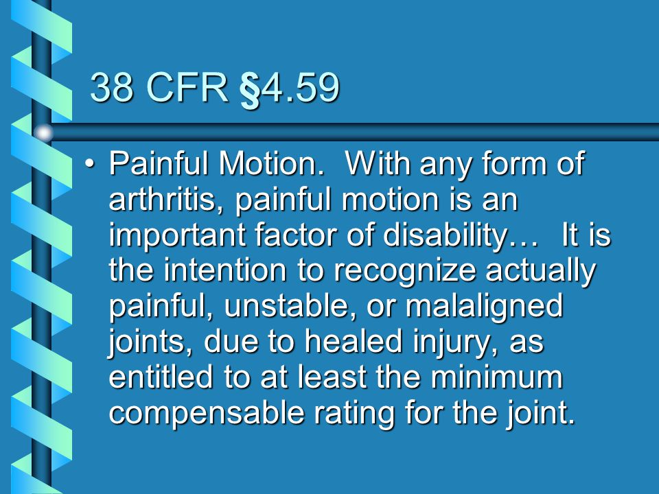 38 CFR §4.59
