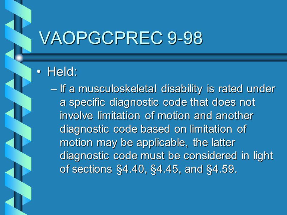 VAOPGCPREC 9-98 Held: