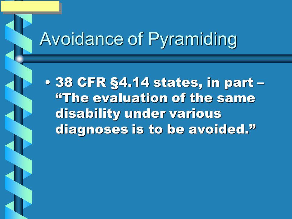 Avoidance of Pyramiding