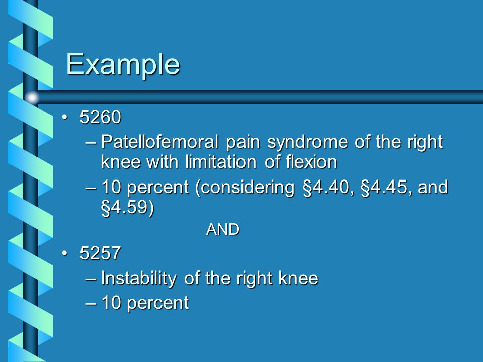 Example 5260. Patellofemoral pain syndrome of the right knee with limitation of flexion. 10 percent (considering §4.40, §4.45, and §4.59)