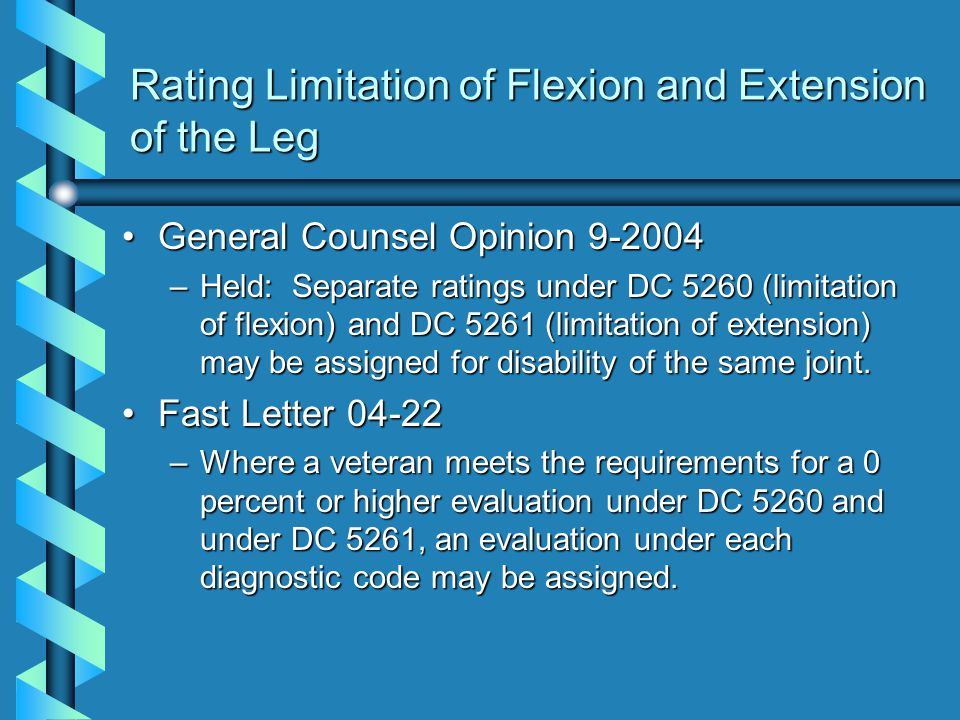 Rating Limitation of Flexion and Extension of the Leg