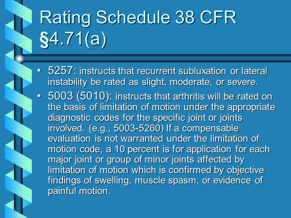 Rating Schedule 38 CFR §4.71(a)