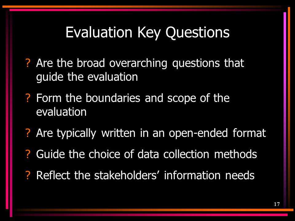 Evaluation Key Questions