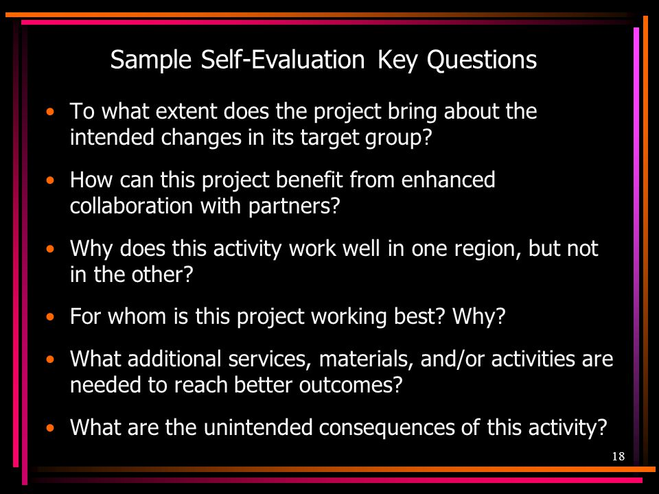 Sample Self-Evaluation Key Questions