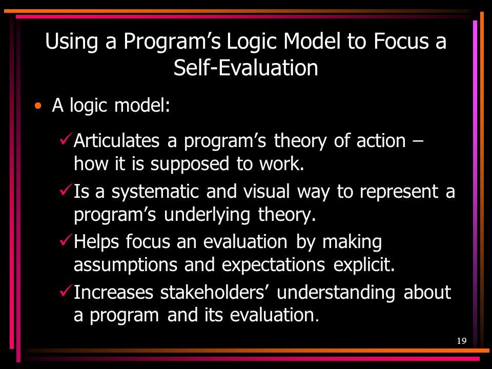 Using a Program's Logic Model to Focus a Self-Evaluation