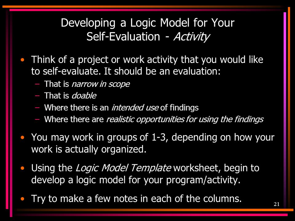 Developing a Logic Model for Your Self-Evaluation - Activity