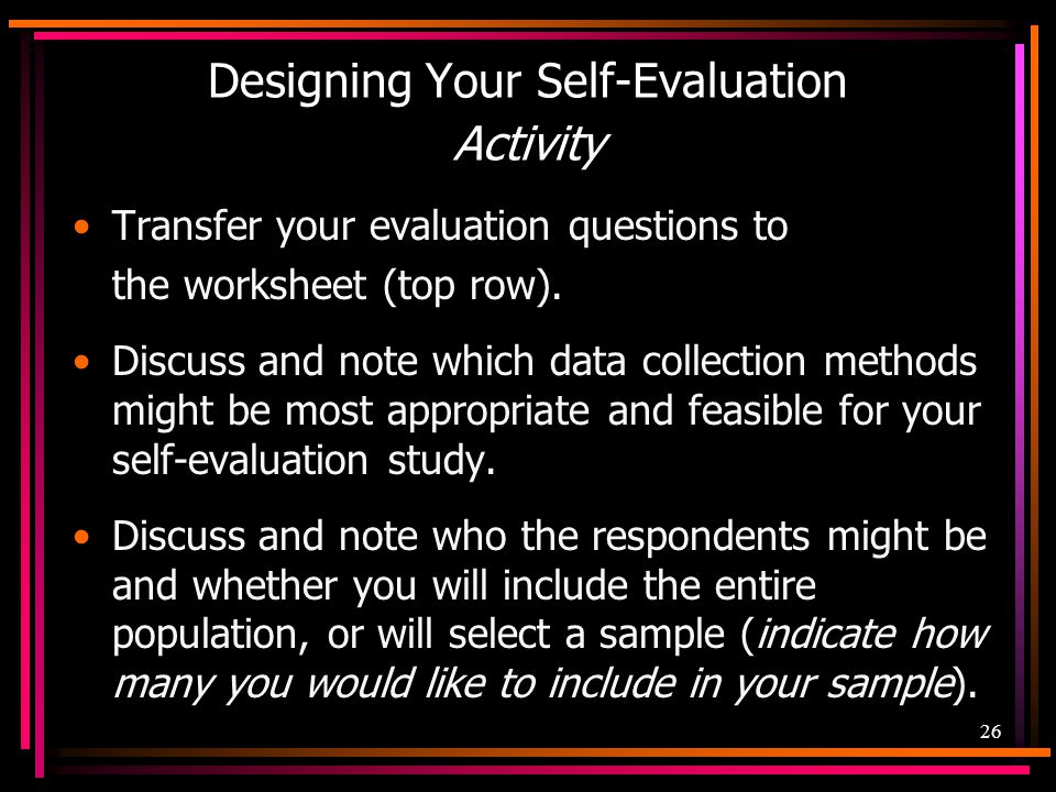 Designing Your Self-Evaluation Activity