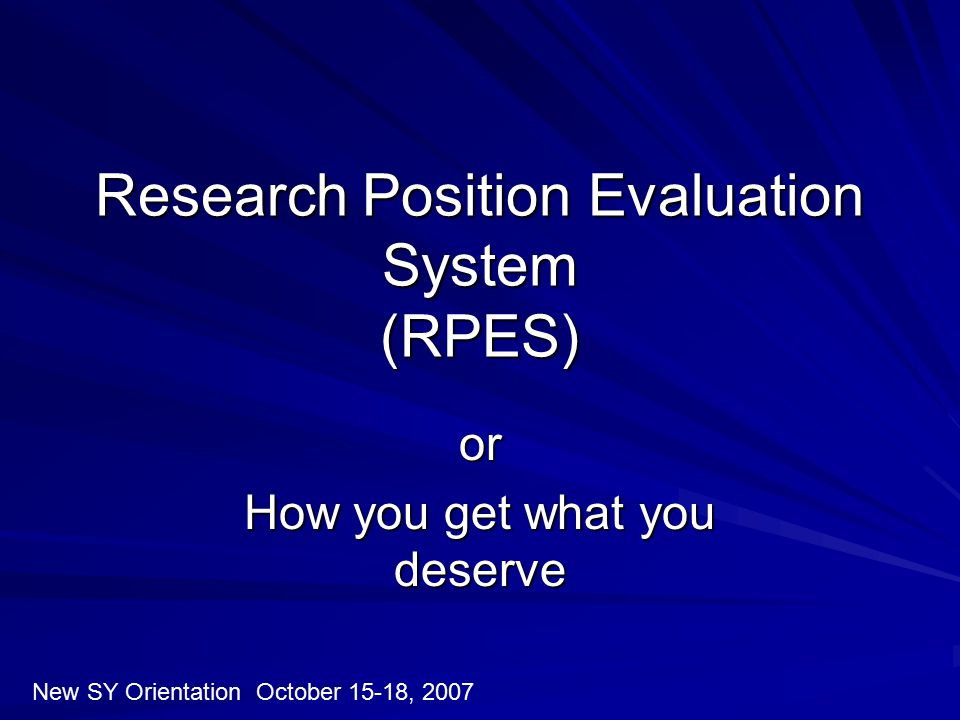 Research Position Evaluation System (RPES)