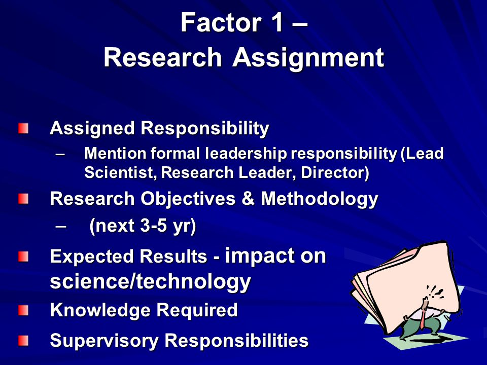 Factor 1 – Research Assignment