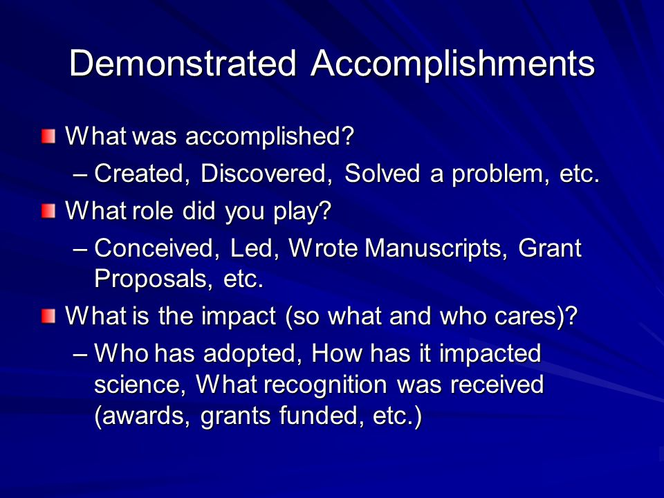 Demonstrated Accomplishments