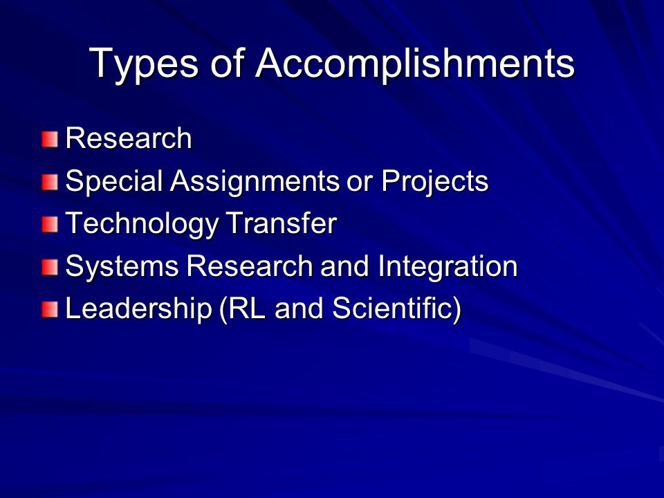 Types of Accomplishments