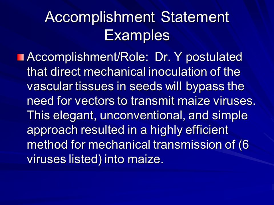 Accomplishment Statement Examples