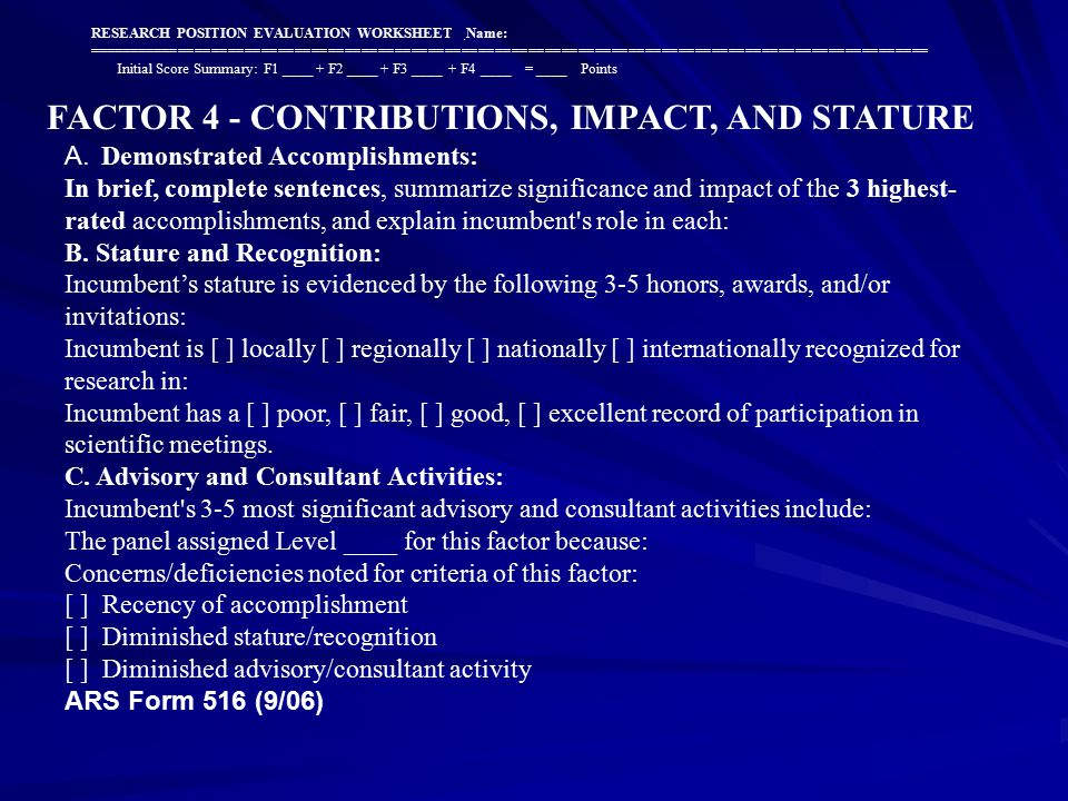 FACTOR 4 - CONTRIBUTIONS, IMPACT, AND STATURE