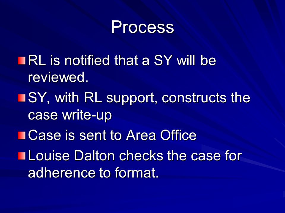 Process RL is notified that a SY will be reviewed.