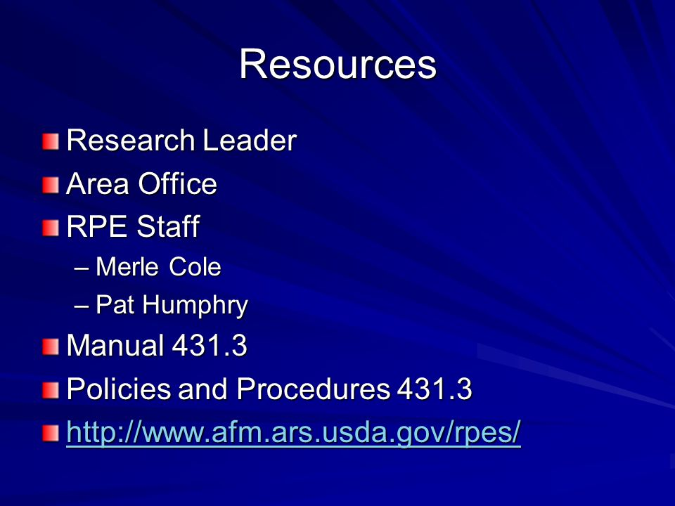 Resources Research Leader Area Office RPE Staff Manual 431.3