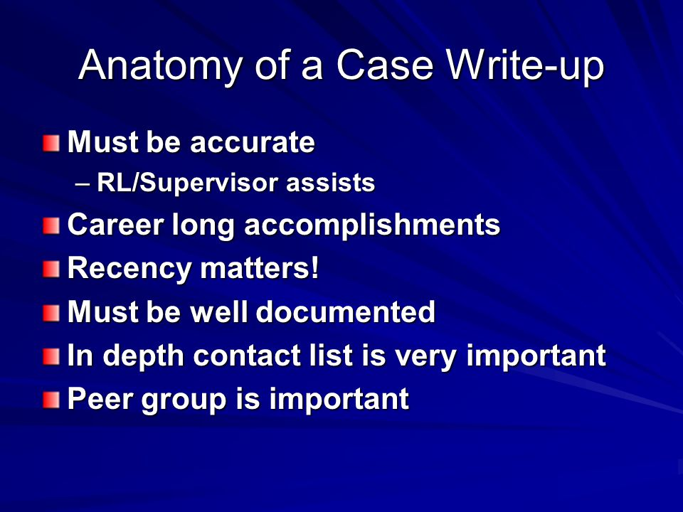 Anatomy of a Case Write-up