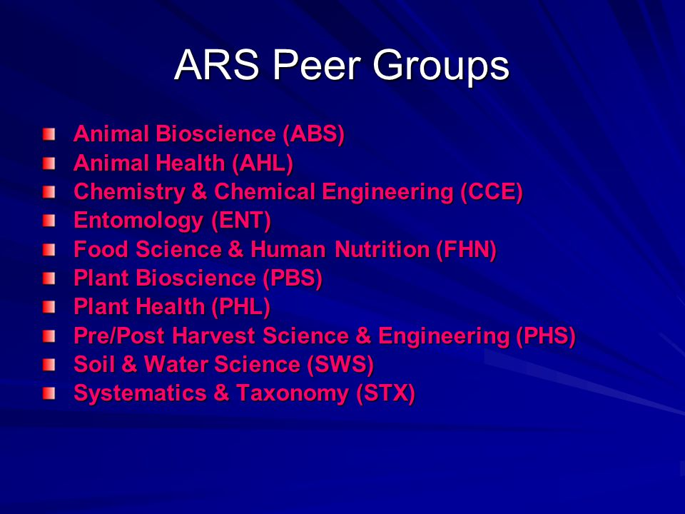 ARS Peer Groups Animal Bioscience (ABS) Animal Health (AHL)