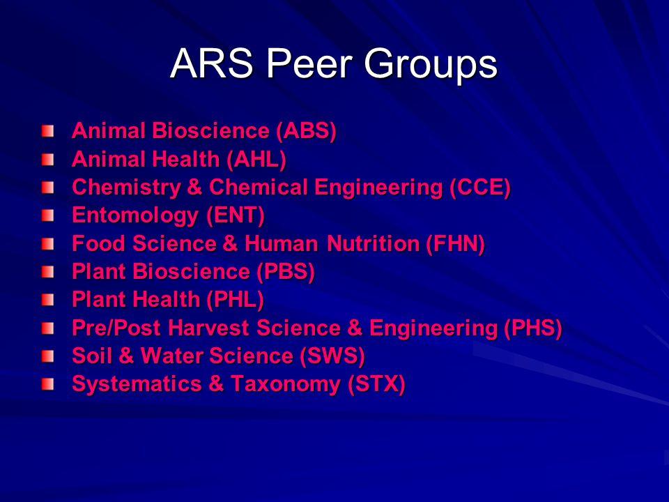 ARS Peer Groups Animal Bioscience (ABS) Animal Health (AHL)